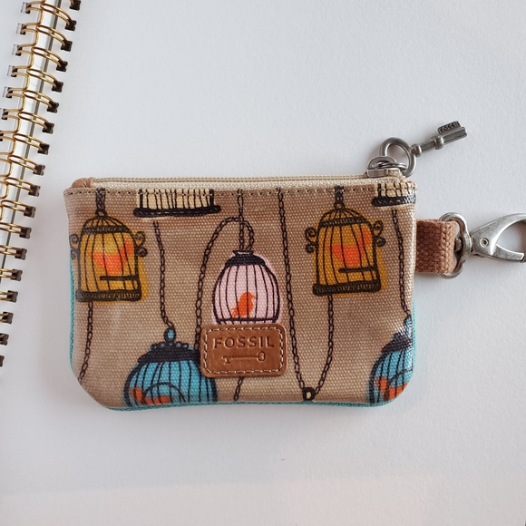 Fossil bird cage coin wallet